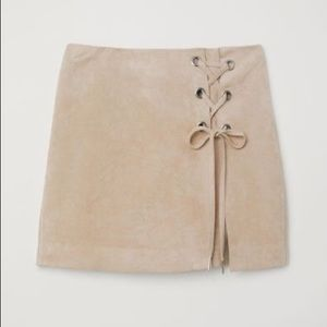 H&M Divided Faux Suede Beige Skirt Size 10